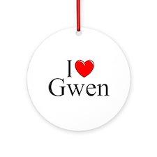 """I Love (Heart) Gwen"" Ornament (Round)"