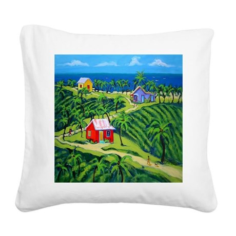 Island Time Art Shower Curtai Square Canvas Pillow