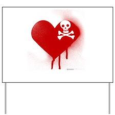 Emo Skull Heart Yard Sign