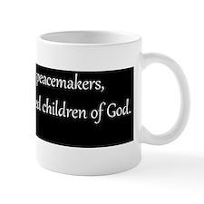 Peacemakers, White on Black, Beatitudes Mug