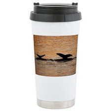 SILHOUETTE OF A HUMPBACK WHALE  Thermos Mug