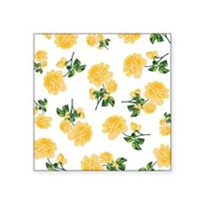 "Yellow flowers on white Square Sticker 3"" x 3"""
