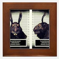 Evil Easter Bunny Rabbit Framed Tile