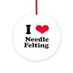 I Love Needle Felting Ornament (Round)