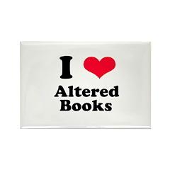 I Love Altered Books Rectangle Magnet