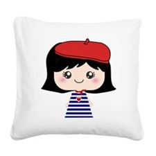 Cute French Girl cartoon Square Canvas Pillow