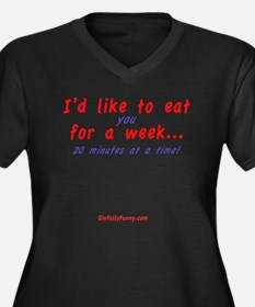Eat You Women's Plus Size Dark V-Neck T-Shirt