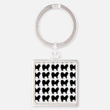 Chow Chow Silhouette Flip Flops In Square Keychain