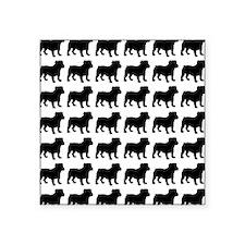 """Bulldog Silhouette Flip Flo Square Sticker 3"""" x 3"""""""