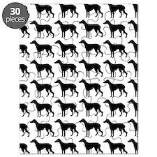 Greyhound Silhouette Flip Flops In Black Puzzle