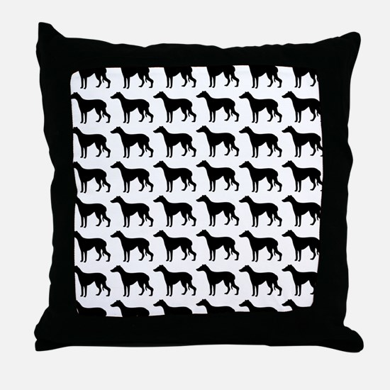 Greyhound Silhouette Flip Flops In Bl Throw Pillow