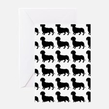 Dachshund Silhouette Flip Flops In B Greeting Card