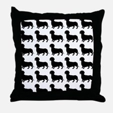 Dachshund Silhouette Flip Flops In Bl Throw Pillow