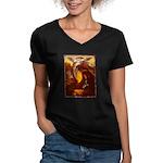 Mona Lisa Deer #1A Women's V-Neck Dark T-Shirt