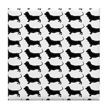 Basset Hound Silhouette Flip Flops In Tile Coaster