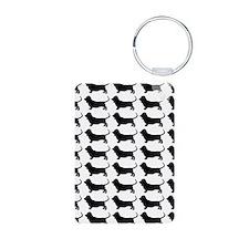 Basset Hound Silhouette Fl Aluminum Photo Keychain