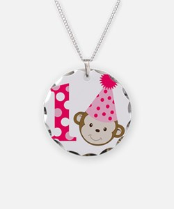 Pink Monkey 1st Birthday Necklace Circle Charm