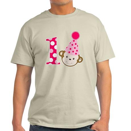 Pink Monkey 1st Birthday Light T-Shirt