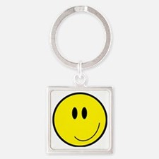 Happy Smiley Face Square Keychain