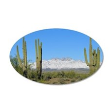 Snowy Four Peaks no Border 35x21 Oval Wall Decal