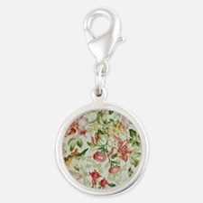 Floral Silver Round Charm