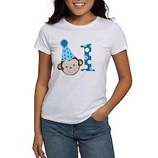 1st Birthday Cute Boy Monkey Blue Tee