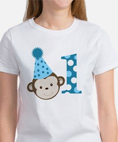 1st Birthday Cute Boy Monkey Blue Tee