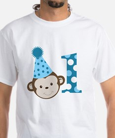 1st Birthday Cute Boy Monkey Blue Shirt