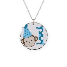 1st Birthday Cute Boy Monkey Necklace Circle Charm