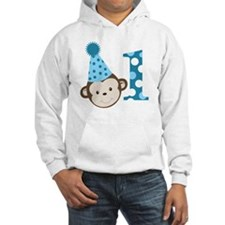 1st Birthday Cute Boy Monkey Blu Hoodie