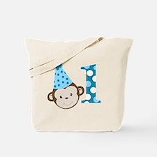 1st Birthday Cute Boy Monkey Blue Tote Bag