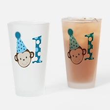 1st Birthday Cute Boy Monkey Blue Drinking Glass