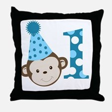 1st Birthday Cute Boy Monkey Blue Throw Pillow