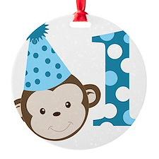 1st Birthday Cute Boy Monkey Blue Ornament