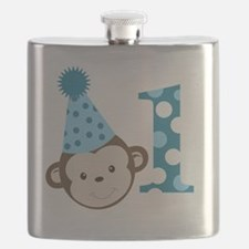 1st Birthday Cute Boy Monkey Blue Flask