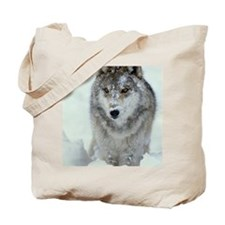 GREY WOLF WITH SNOW COVERED FACE IN AMERI Tote Bag