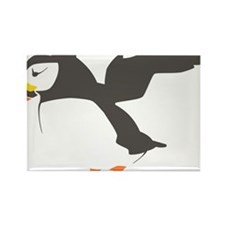 Puffin with Wings Rectangle Magnet