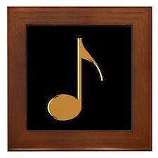 Gold Eighth Note Framed Tile