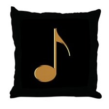 Gold Eighth Note Throw Pillow