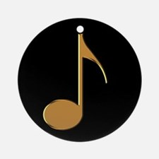Gold Eighth Note Ornament (Round)