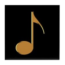 Gold Eighth Note Tile Coaster