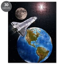 SPACE SHUTTLE, MOON, EARTH WITH WEST HEMISP Puzzle