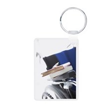 Wheelchair and books Aluminum Photo Keychain