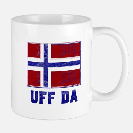 Uff Da Norway Flag Large Mugs