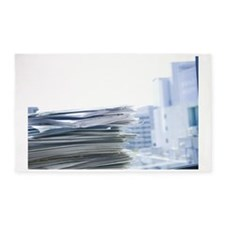 Stack of documents in an office 3'x5' Area Rug