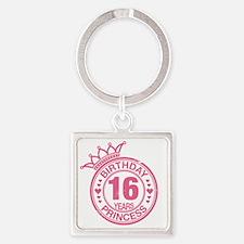 Birthday Princess 16 years Square Keychain