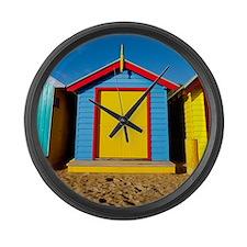 Beach huts on Brighton Beach. Large Wall Clock