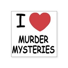 "I heart murder mysteries Square Sticker 3"" x 3"""