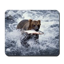 GRIZZLY BEAR WITH RED SALMON IN KATMAI N Mousepad