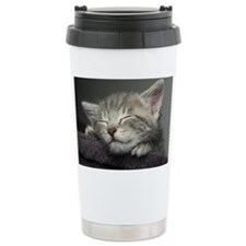 Grey kitten sleeping Thermos Mug